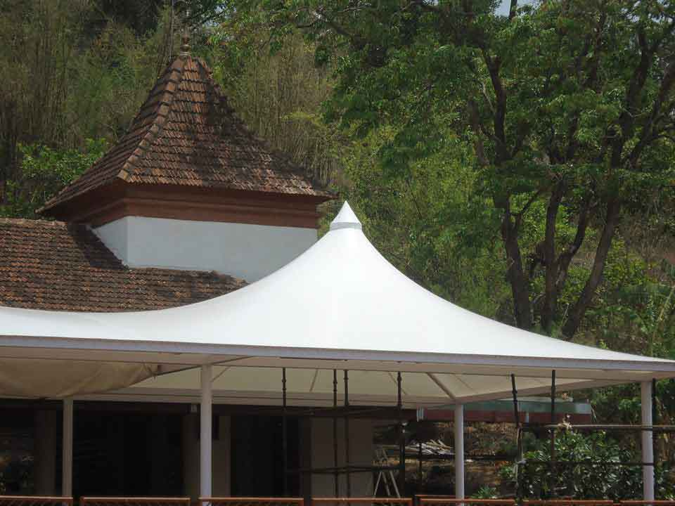 simca india terrace roof conical fabric structure goa, india