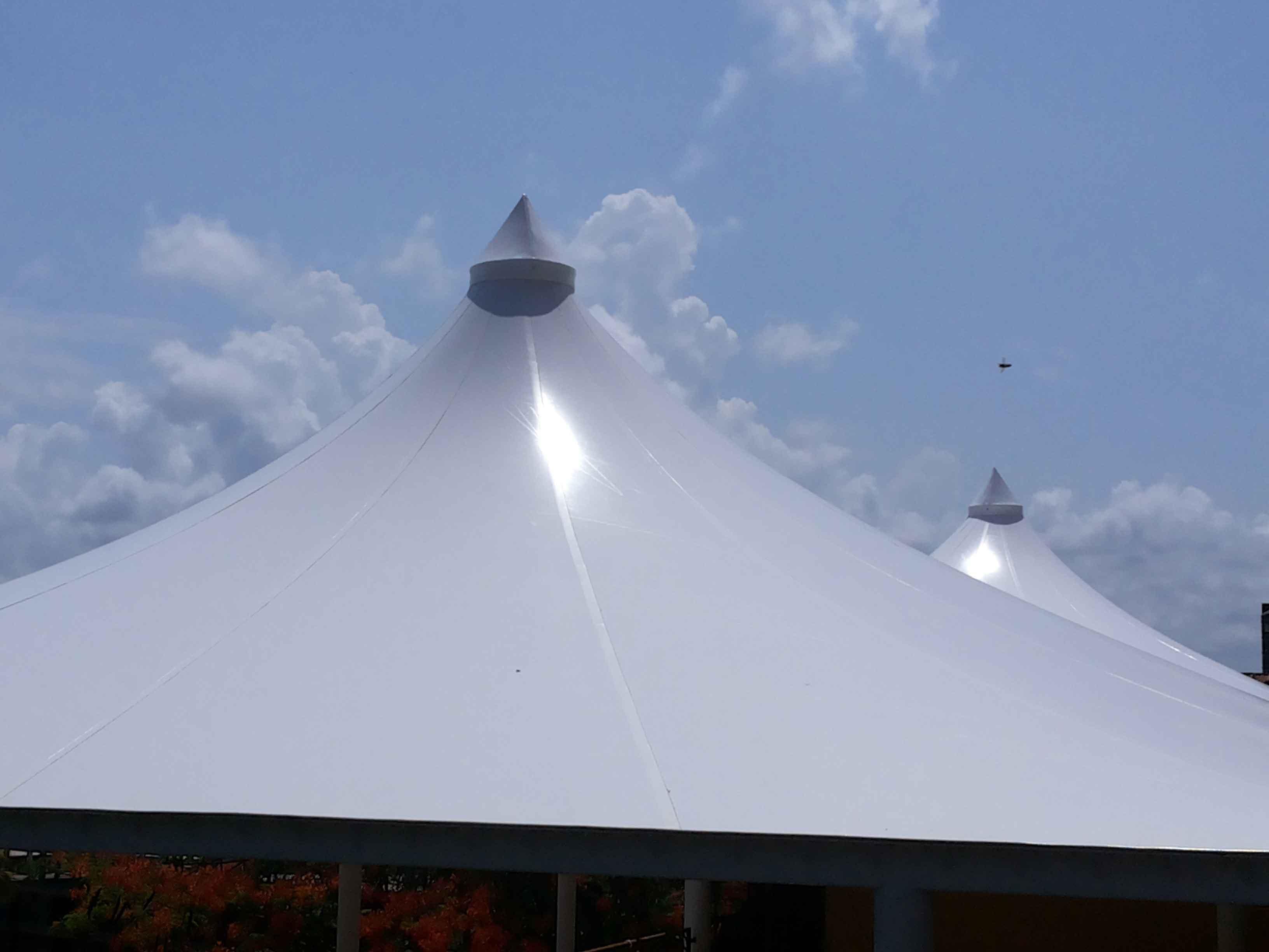 simca india terrace roof conical fabric structure goa, india